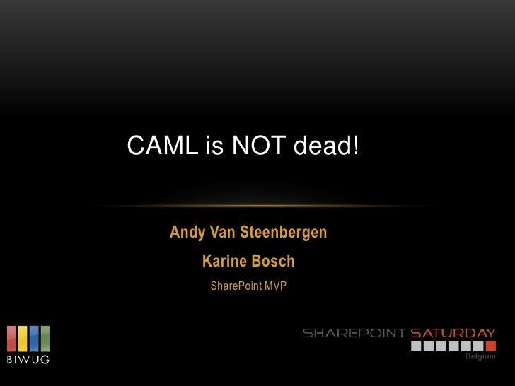 CAML is NOT dead!   Andy Van Steenbergen       Karine Bosch        SharePoint MVP