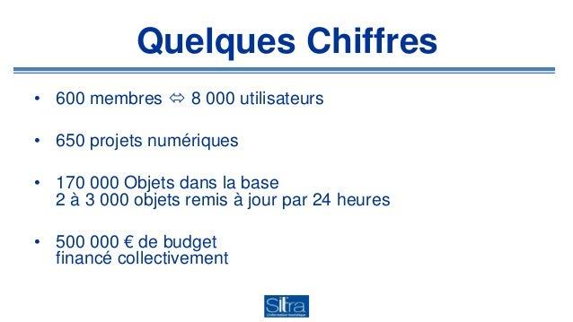 Quelques Chiffres • 600 membres  8 000 utilisateurs • 650 projets numériques • 170 000 Objets dans la base 2 à 3 000 obje...