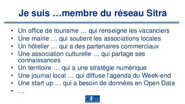 Je suis …membre du réseau Sitra • Un office de tourisme … qui renseigne les vacanciers • Une mairie … qui soutient les ass...