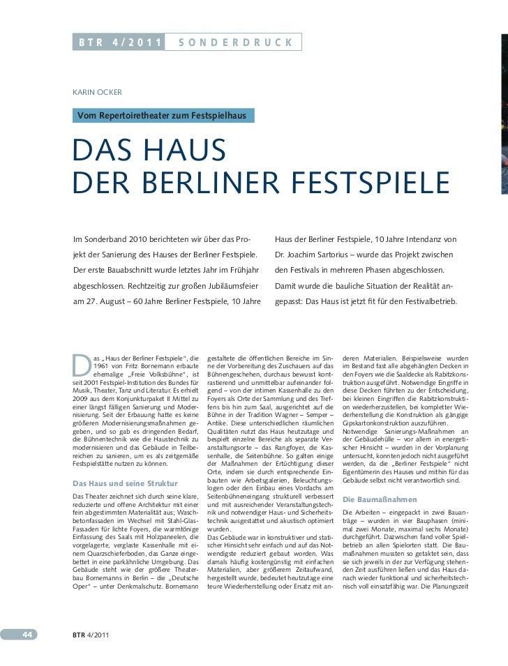 BTR 4/2011                          So n D eRD Ru c k     Karin OcKer      Vom Repertoiretheater zum Festspielhaus     Das...