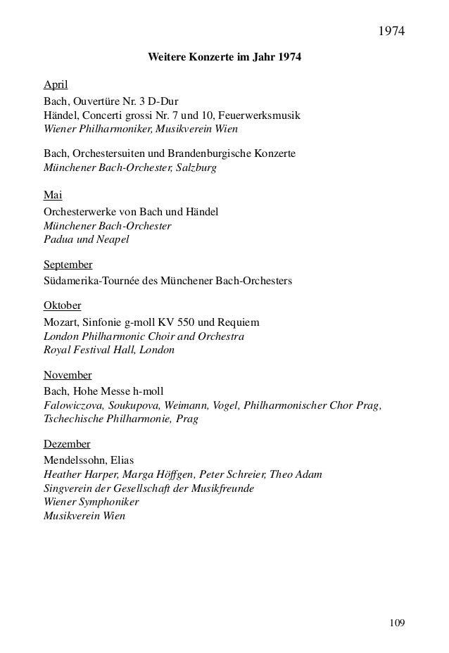 109 Weitere Konzerte im Jahr 1974 April Bach, Ouvertüre Nr. 3 D-Dur Händel, Concerti grossi Nr. 7 und 10, Feuerwerksmusik ...
