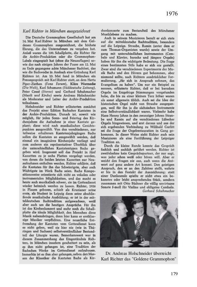 """179 Dr. Andreas Holschneider überreicht Karl Richter das """"Goldene Grammophon"""" 1976"""