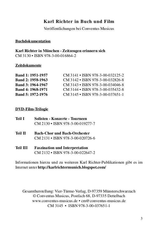 3 Karl Richter in Buch und Film Veröffentlichungen bei Conventus Musicus Buchdokumentation Karl Richter in München - Zeitz...