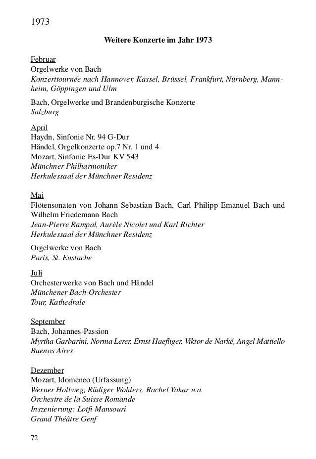72 Weitere Konzerte im Jahr 1973 Februar Orgelwerke von Bach Konzerttournée nach Hannover, Kassel, Brüssel, Frankfurt, Nür...