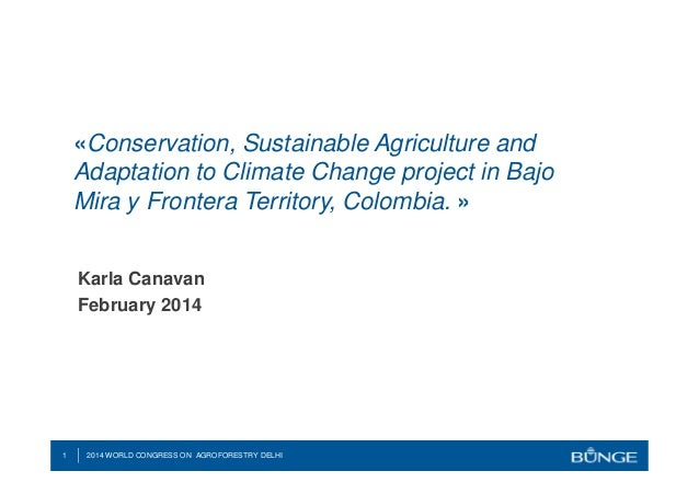 «Conservation, Sustainable Agriculture and Adaptation to Climate Change project in Bajo Mira y Frontera Territory, Colombi...