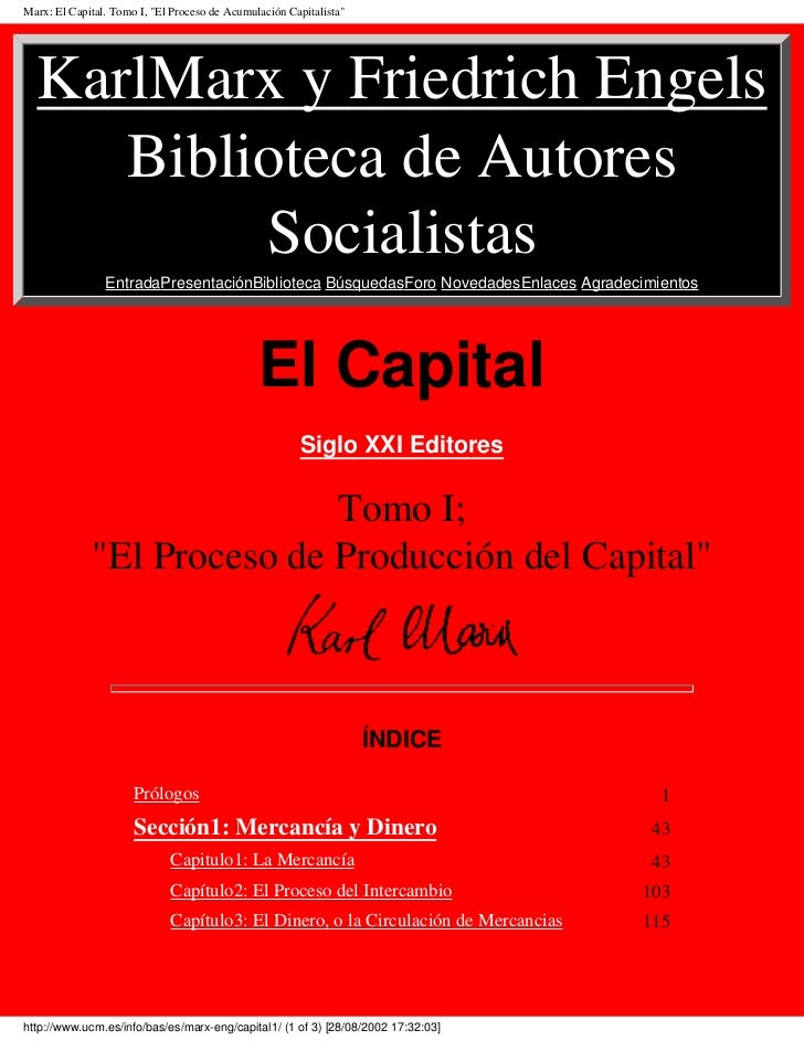 karl marx capital Author's prefaces to the first and second editions, by karl marx : creation of the home market for industrial capital xxxi genesis of the industrial capitalist.