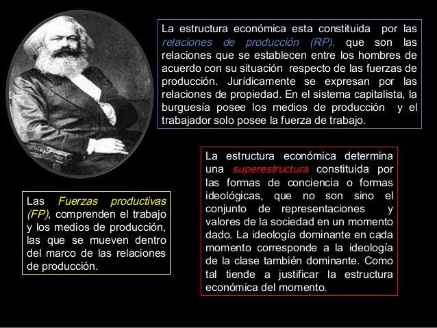 La estructura económica esta constituida por las relaciones de producción (RP), que son las relaciones que se establecen e...