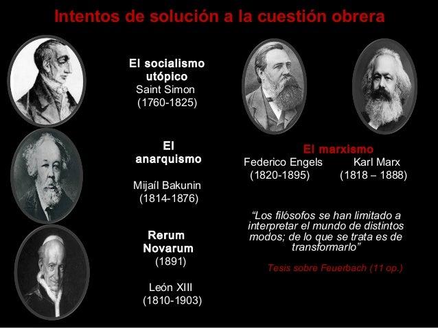 Intentos de solución a la cuestión obrera El socialismo utópico Saint Simon (1760-1825) El anarquismo Mijaíl Bakunin (1814...