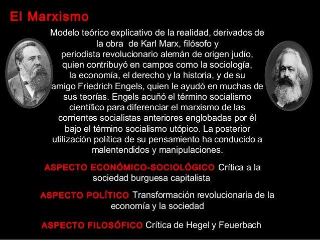 El Marxismo ASPECTO ECONÓMICO-SOCIOLÓGICO Crítica a la sociedad burguesa capitalista ASPECTO POLÍTICO Transformación revo...