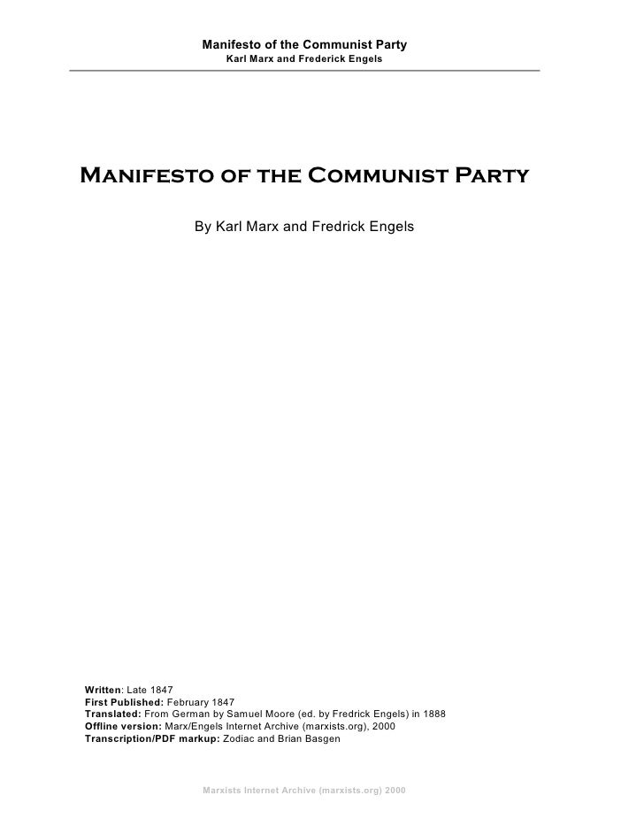 Manifesto of the Communist Party                             Karl Marx and Frederick Engels     Manifesto of the Communist...