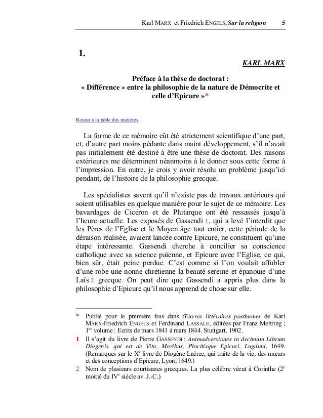 Karl marx et friedrich engels sur la religion - Difference entre sommaire et table des matieres ...