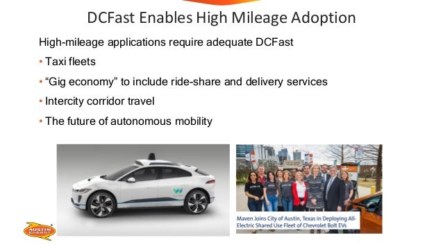 """DCFast Enables High Mileage Adoption High-mileage applications require adequate DCFast • Taxi fleets • """"Gig economy"""" to in..."""