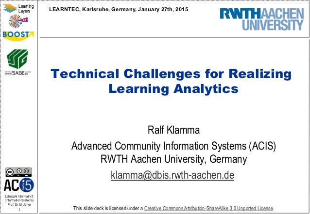 Lehrstuhl Informatik 5 (Information Systems) Prof. Dr. M. Jarke 1 Learning Layers This slide deck is licensed under a Crea...