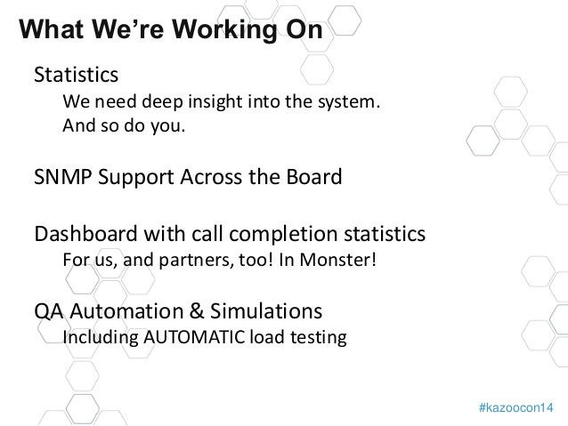 #kazoocon14  What We're Working On  Statistics  We need deep insight into the system.  And so do you.  SNMP Support Across...