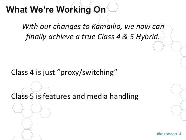 #kazoocon14  What We're Working On  With our changes to Kamailio, we now can  finally achieve a true Class 4 & 5 Hybrid.  ...