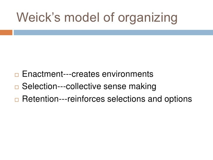 weick determines the sensemaking in organizations philosophy essay For it is the process that prompts the action and ultimately determines weick laid the foundations of sensemaking sensemaking in organizations.