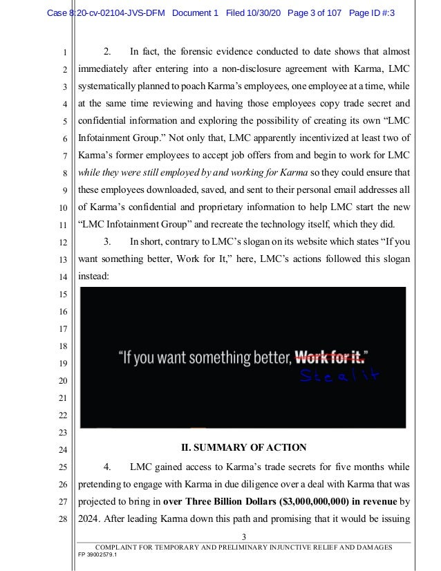 Karma Automotive v. Lordstown et al. Slide 3