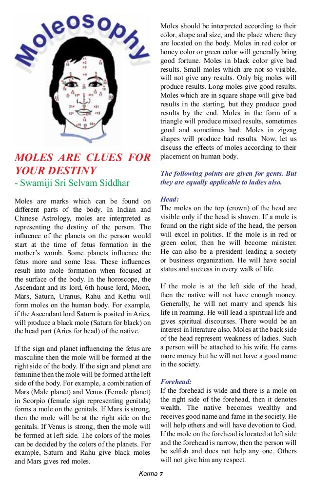 Moles astrology for ladies