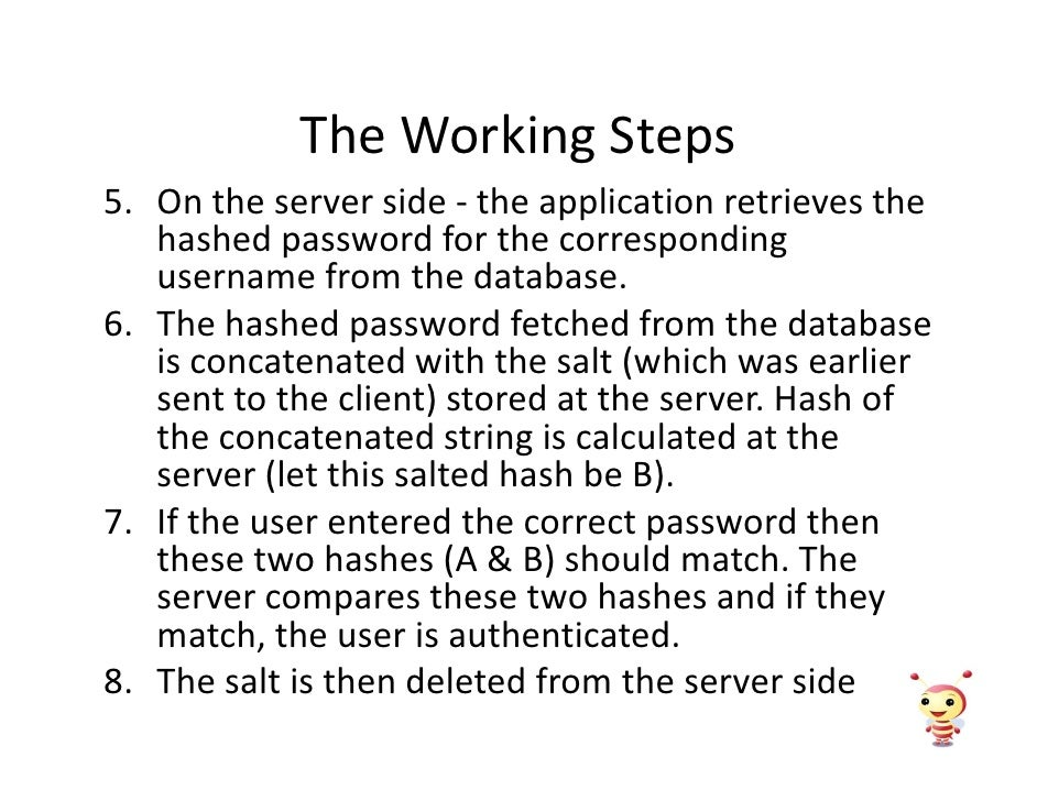 The Working Steps 5. On the server side - the application retrieves the    hashed password for the corresponding    userna...