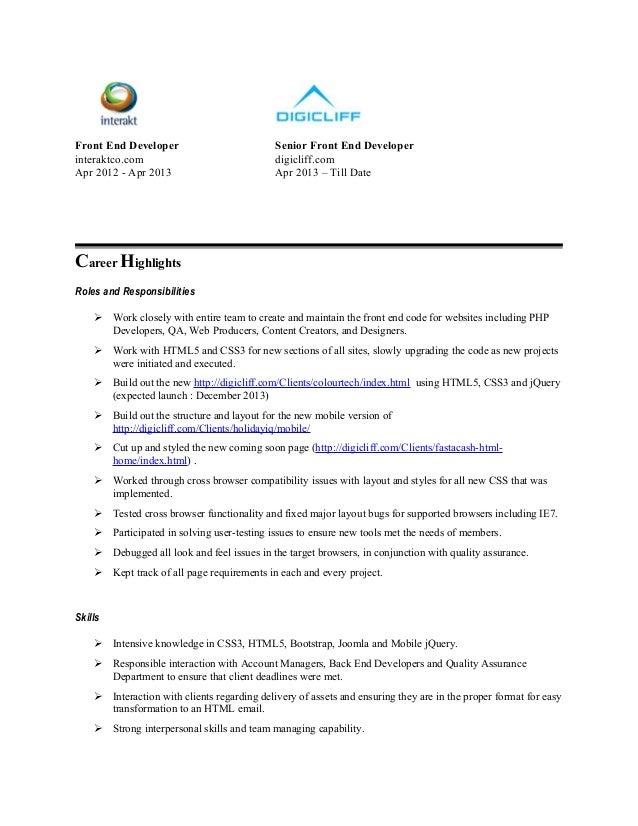 front end developer - Front End Developer Resume