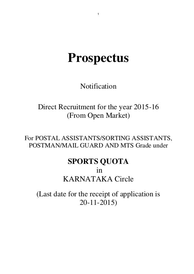 1 Prospectus Notification Direct Recruitment for the year 2015-16 (From Open Market) For POSTAL ASSISTANTS/SORTING ASSISTA...