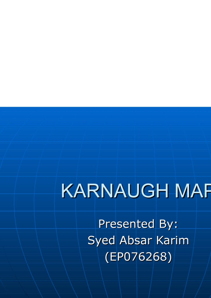 KARNAUGH MAP Presented By: Syed Absar Karim (EP076268)
