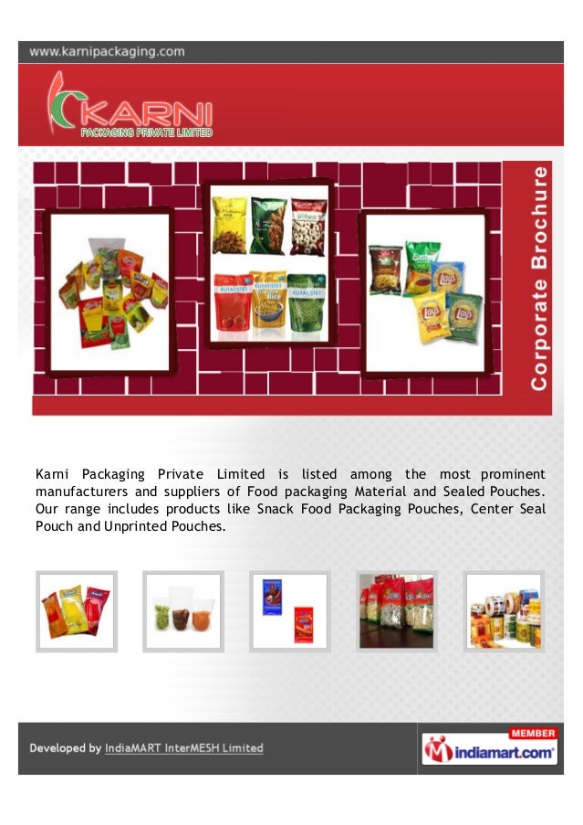 Karni Packaging Private Limited is listed among the most prominent manufacturers and suppliers of Food packaging Material ...