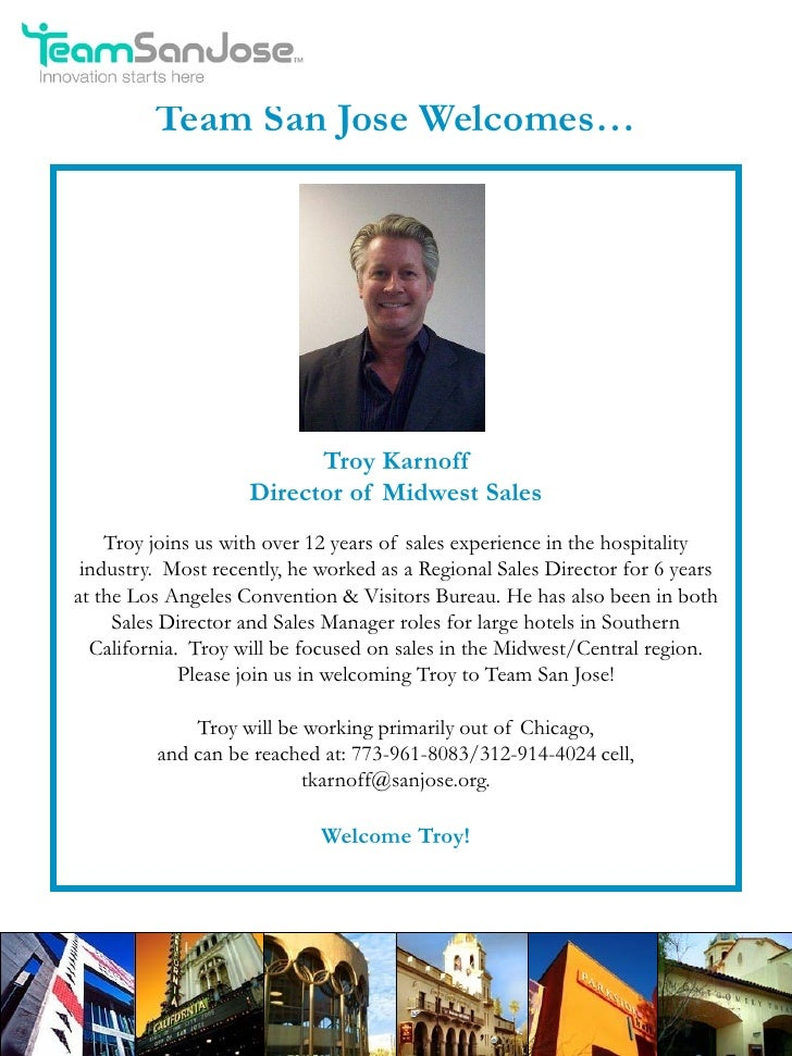 Team San Jose Welcomes…                          Troy Karnoff                    Director of Midwest Sales    Troy joins u...