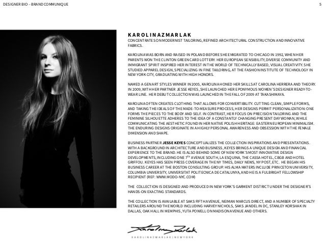 Fashion Designer Bio Sample
