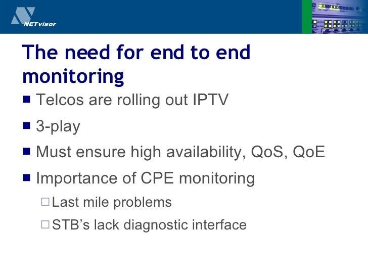 The need for end   to   end monitoring <ul><li>Telcos are rolling out IPTV </li></ul><ul><li>3-play </li></ul><ul><li>Must...