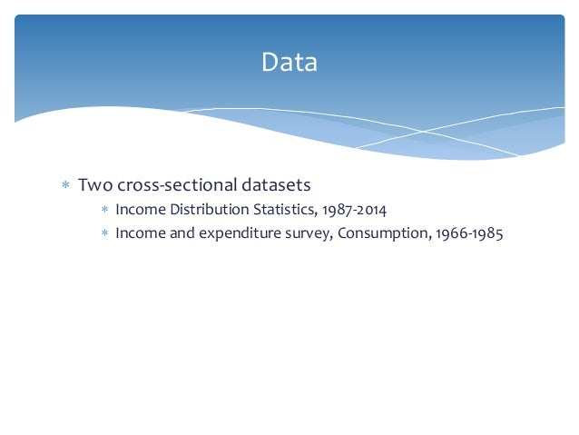  Two cross-sectional datasets  Income Distribution Statistics, 1987-2014  Income and expenditure survey, Consumption, 1...