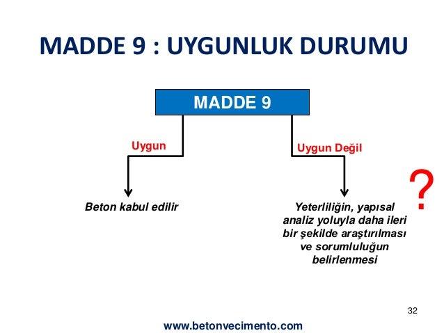 MADDE 9 : UYGUNLUK DURUMU  MADDE 9  Uygun Uygun Değil  Beton kabul edilir Yeterliliğin, yapısal  analiz yoluyla daha ileri...