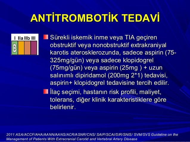 Antitrombotik TedaviAntitrombotik Tedavi European Stroke Study 2 (ESPS2)European Stroke Study 2 (ESPS2)'de'de düşük doz as...