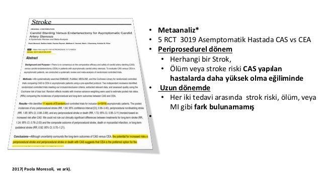 • ilk 30 gün içinde • İnme / Ölüm riskli CAS>CEA • (Özellikle 70 yaşın üzerindeki hastalarda risk fazla) • Hematom, • Miyo...