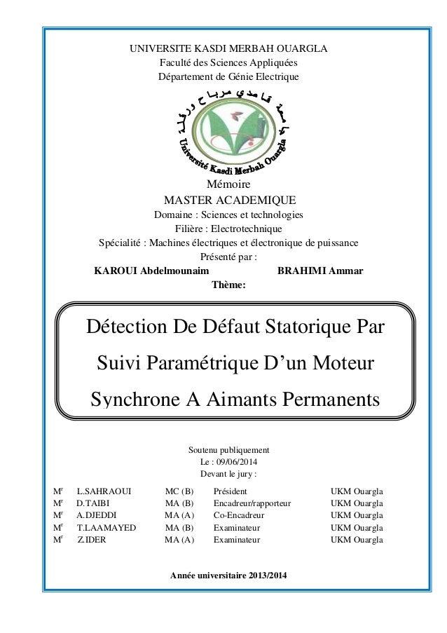 UNIVERSITE KASDI MERBAH OUARGLA Faculté des Sciences Appliquées Département de Génie Electrique Mémoire MASTER ACADEMIQUE ...