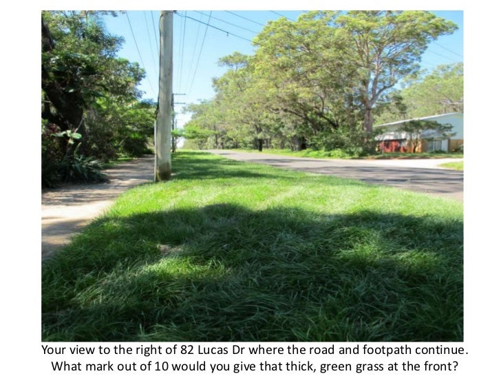 Your view to the right of 82 Lucas Dr where the road and footpath continue.  What mark out of 10 would you give that thick...