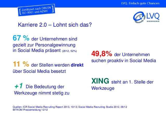 Karriere 2.0 – Lohnt sich das? 49,8% der Unternehmen suchen proaktiv in Social Media 67 % der Unternehmen sind gezielt zur...
