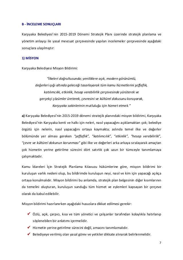 Karşıyaka Belediyesi Stratejik Planı 2015 2019 Değerlendirme Raporu