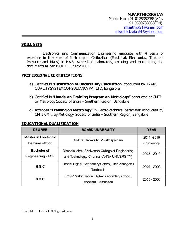 Calibration Engineer With 4 Years Of Experience In NABL Laboratory