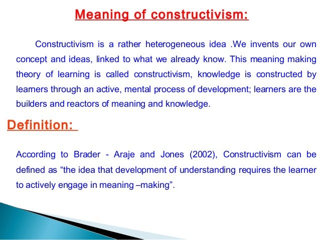 concept to classroom constructivism as a paradigm for teaching and learning essay Some forms of education and social research are said to adopt constructivist approaches (usually those studies undertaken from the 'interpretive' paradigm) constructivism has been especially influential as a perspective on learning, and therefore a perspective on teaching (pedagogy, instruction).