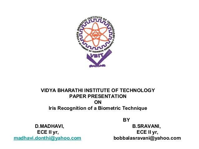 VIDYA BHARATHI INSTITUTE OF TECHNOLOGY                     PAPER PRESENTATION                                ON           ...