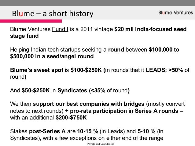 Private and ConfidentialBlume – a short historyBlume Ventures Fund I is a 2011 vintage $20 mil India-focused seedstage fun...
