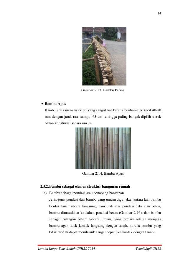 14 Lomba Karya Tulis Ilmiah UNHAS 2014 TeknikSipil UMB2 Gambar 2.13. Bambu Peting  Bambu Apus Bambu apus memiliki sifat y...