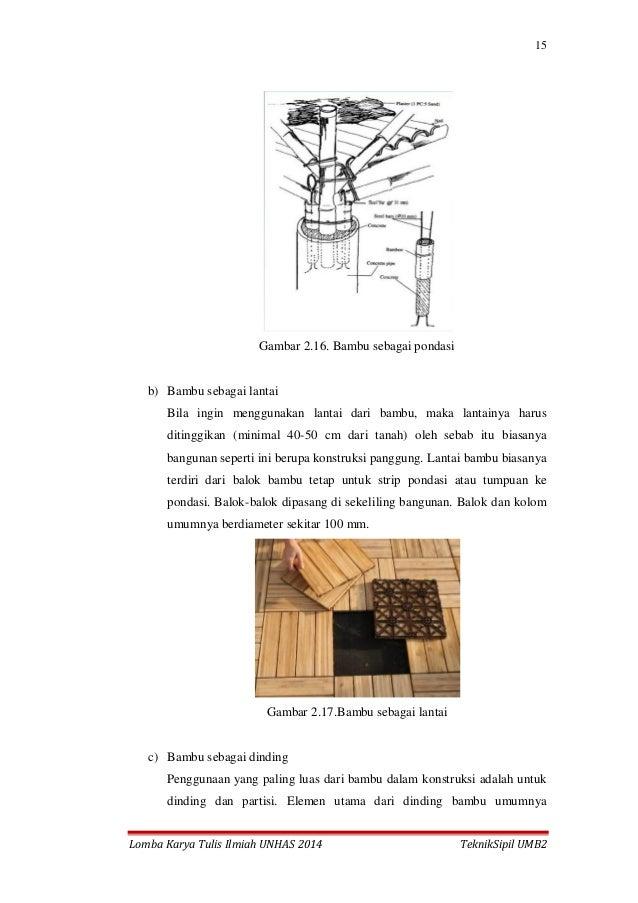 15 Lomba Karya Tulis Ilmiah UNHAS 2014 TeknikSipil UMB2 Gambar 2.16. Bambu sebagai pondasi b) Bambu sebagai lantai Bila in...