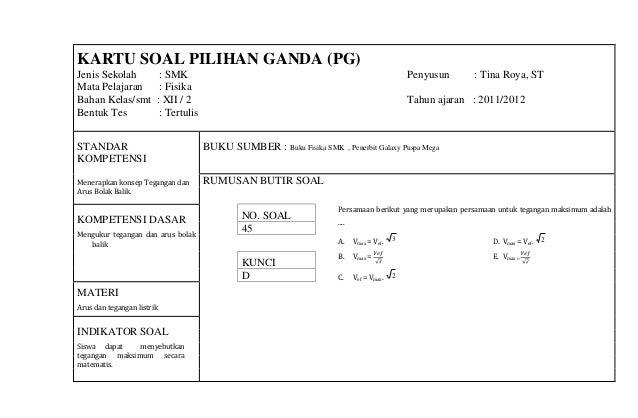Kartu Soal Fisika A 2011 2012