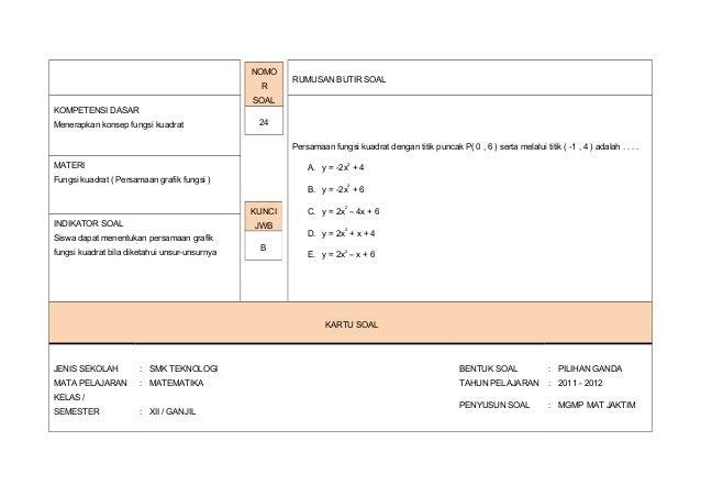 Kartu Soal Matematika Paket A Tkm 2011 2012