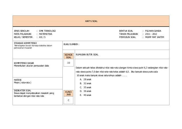 Kartu Soal Matematika Paket B Tkm 2011 2012