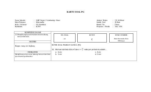 Kartu Soal Matematika Smp Kelas Ix