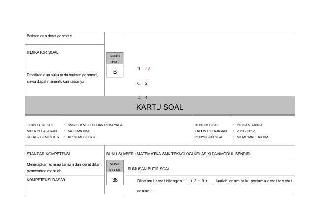 Kartu Soal Matematika Teknik Kls Xi 3 11 12