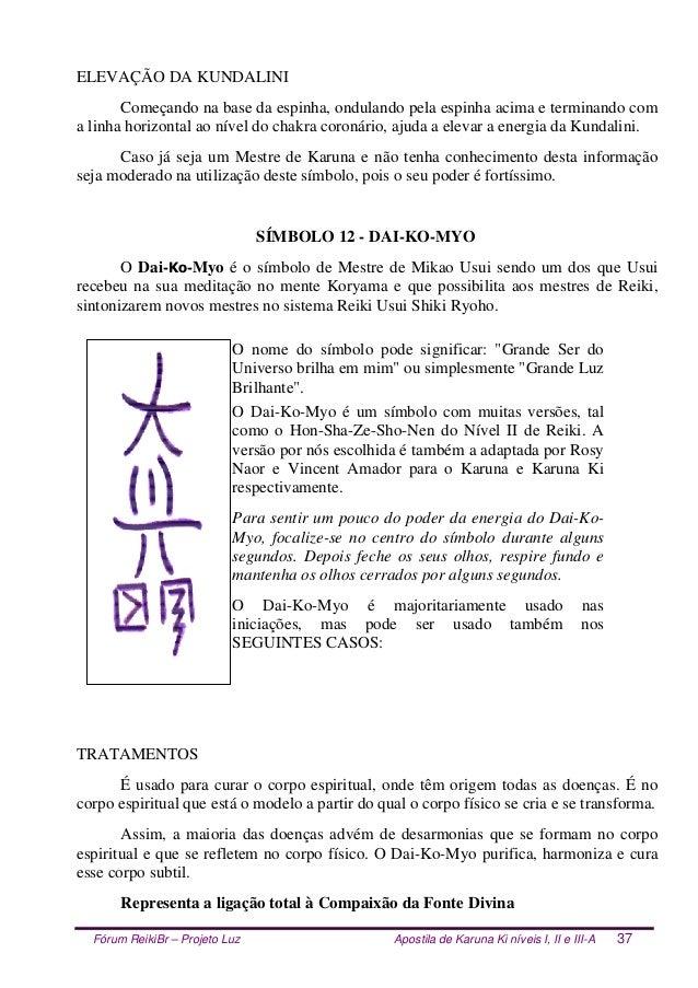 Fórum ReikiBr – Projeto Luz Apostila de Karuna Ki níveis I, II e III-A 37 ELEVAÇÃO DA KUNDALINI Começando na base da espin...